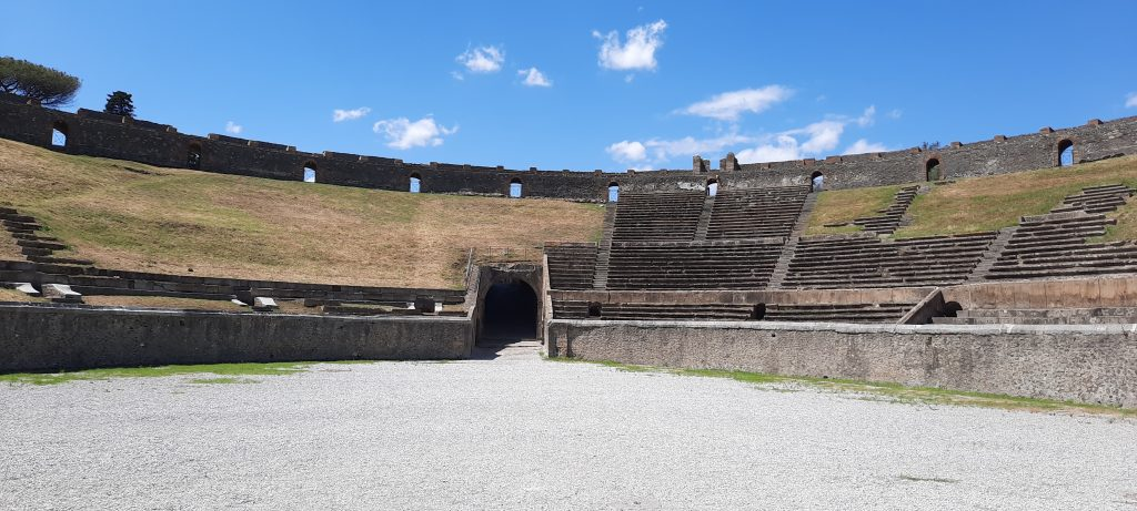 Amphitheater seating Pompeii Italy