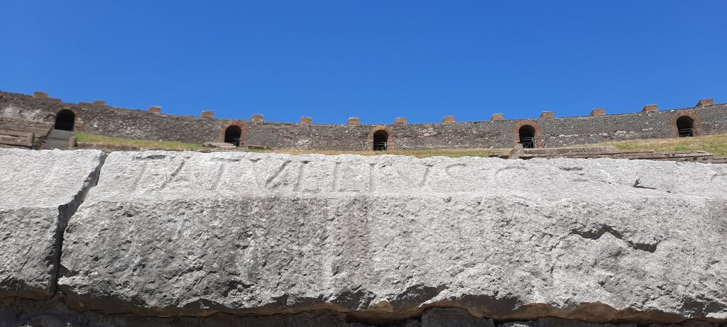 Amphitheater Inscriptions Pompeii Italy