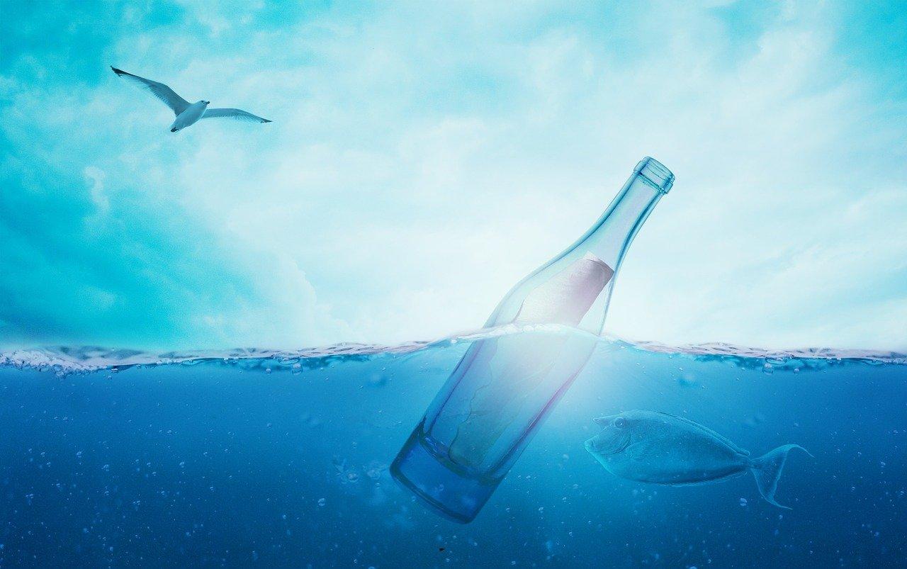 sea, message in a bottle, bottle
